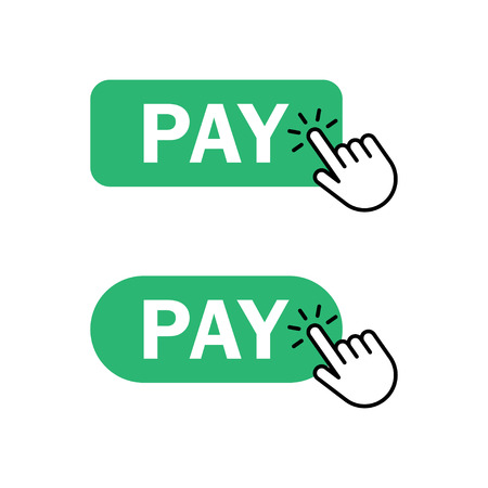Finger push on pay button icon. Concept security payment of online shopping. Vector illustration Illustration