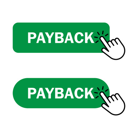 Payback button Icon. Hand cursor clicks Payback button. Vector illustration