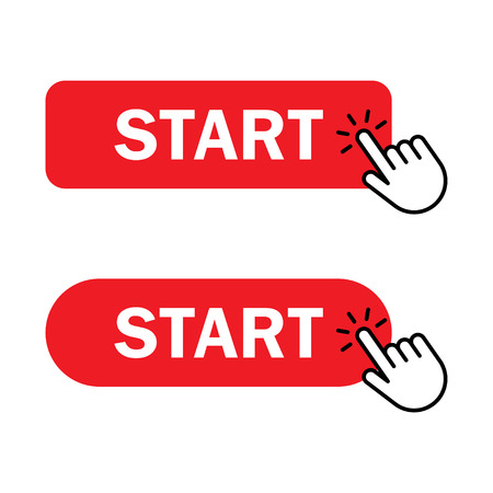 Start button Icon. Hand cursor clicks Start button. Vector illustration
