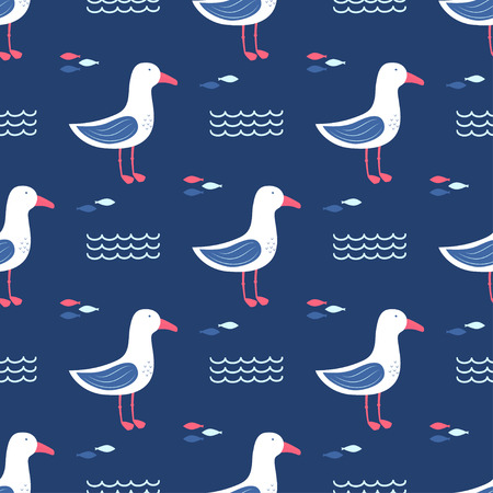 seamless pattern with beautiful gulls, stars, clouds and rainbows, greeting card, background with seabirds