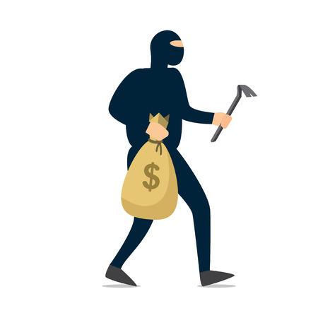 Dief. Crimineel in zwart masker stal geld. vectorillustratie Vector Illustratie