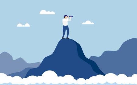 Hombre de negocios de pie en la cima de la montaña por encima del acantilado de nubes con binoculares en busca de éxito. Símbolo de nuevas oportunidades, visionario, éxito. Ilustración vectorial Ilustración de vector