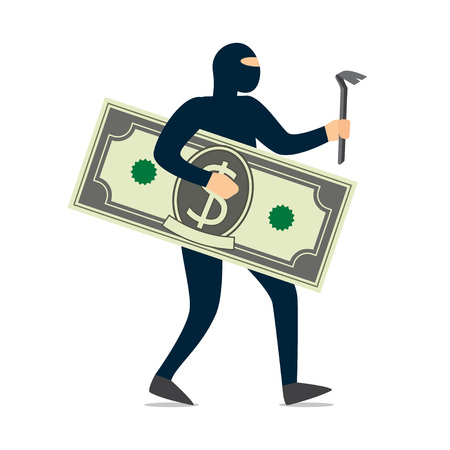 Thief. Criminal in black mask stole money. Vector Illustration