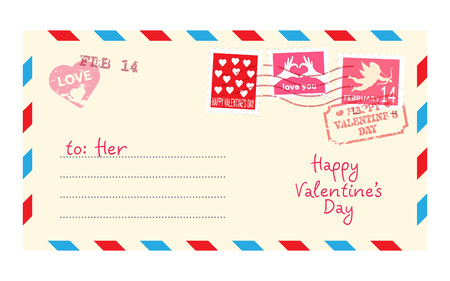 Happy Valentines day card. Letter in envelope isolated on white background. Vector illustration