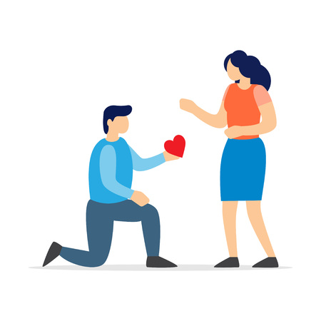 Man kneeling to propose married to woman in Valentine day. Vector illustration