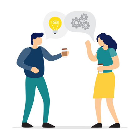 Coffee break. Employees with cups in hands, who drinking coffee and talk. Vector illustration.