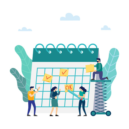 Planning and work process organization. Team working together planning their agenda on a big calendar. Drawing circle mark with pencil standing. Vector illustration