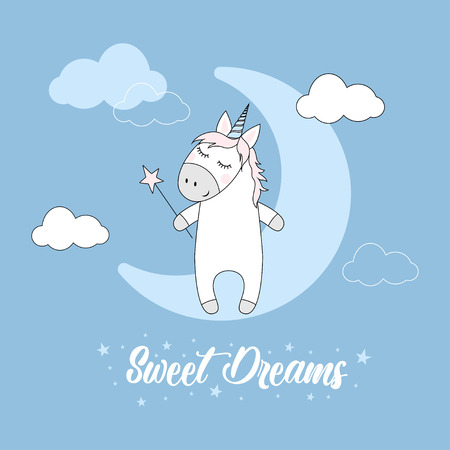 cute magic unicorn and moon poster, greeting card, magic animal with stars, clouds, lettering sweet dreams