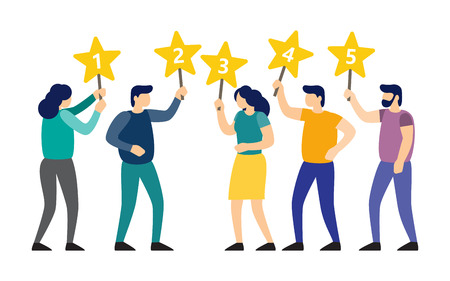 Juries rating in the competition. People are holding stars over the heads. Men and women rate services and user experience.. Vector illustration Illustration