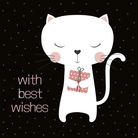 greeting card with cute cartoon cat, present and lettering with best wishes, Happy birthday card