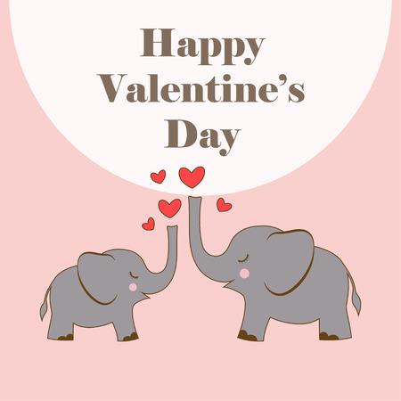 Ilustración de dos lindos elefantes con corazón aislado sobre fondo rosa, cartel de dibujos animados con animales y letras para el día de San Valentín Ilustración de vector