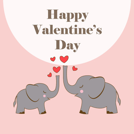 illustration of two cute elephants with heart isolated on pink background, cartoon poster with animals and lettering for Valentines day