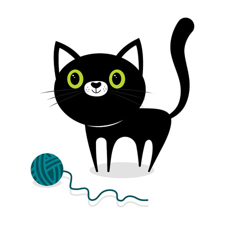 black shape of kitten with ball, card with cat, simple animal background