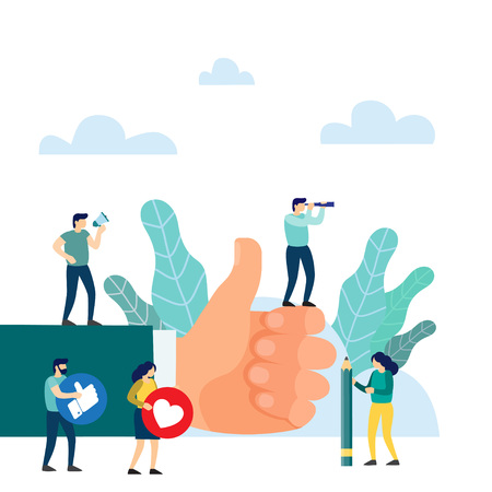 Hand thumb up. I like it concept. It is the highest score. vector illustration