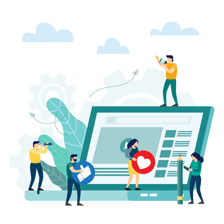 Digital content, social networks, virtual communication, information search. Reading news in internet. Vector illustration