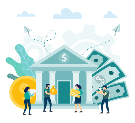 Bank building with people. Happy client investors, Money exchange, giving out money, financial service. Vector illustration