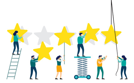 People are holding stars over the heads. Feedback consumer or customer review evaluation. The best estimate of performance, the score of five stars. vector illustration Illustration