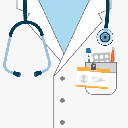 Doctor with stethoscope. Medical uniform, hospital coat. Vector illustration