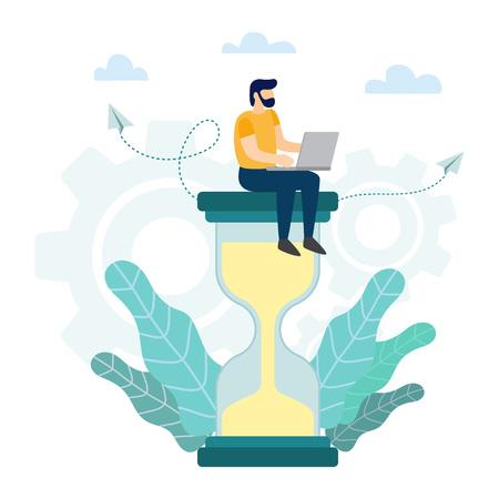 Concept de gestion du temps. Homme d'affaires avec ordinateur portable assis sur un grand sablier. Illustration vectorielle