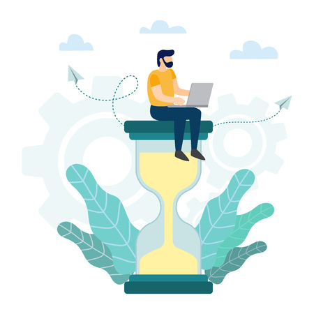 Time Management concept. Businessman with laptop sitting on big hourglass. Vector illustration