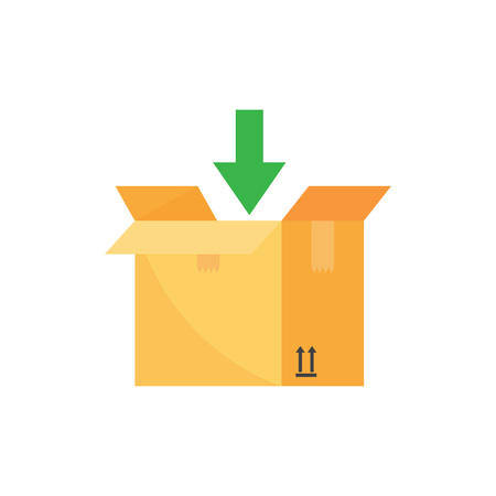 Open box and arrow down. Add to package box. Shipping or relocation concept. Vector illustration