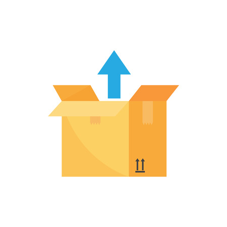Open box with an up arrow. Unboxing. Shipping or relocation concept. Vector illustration