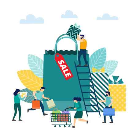People with shopping. Special offer and big discount. Best price. Sale concept. vector illustration Stock Illustratie