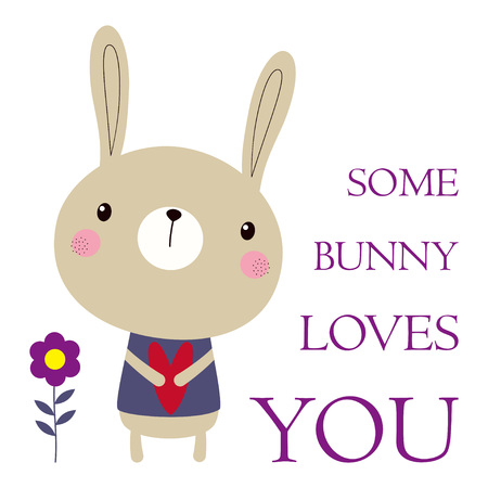 Happy Easter bunny isolated on white, valentines card with rabbit, heart, flowers and lettering some bunny loves you, greeting background for any design