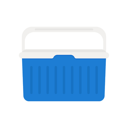 Handheld blue refrigerator, ice cooler for picnic or camping. Vector illustration, isolated over white background Illustration
