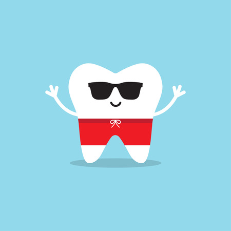 Happy healthy tooth in sunglasses and swimming trunks. Vector illustration on a blue background