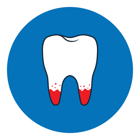 Loose tooth icon. Vector Illustration isolated on blue background
