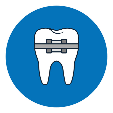 Tooth with metal braces or bracket system. Tooth Cure Orthodontics. Dental icon. Vector Illustration Illustration