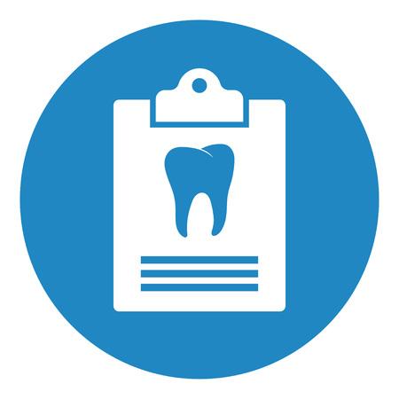 Dental card or patient medical records. Dental clinic report. Dentist advice. vector illustration