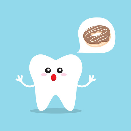 Causes of caries. Factors and causes provoking caries and teeth decay. Tooth protection vector illustration Çizim