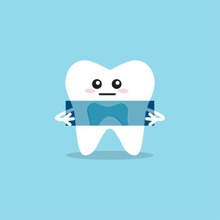 Blue x-ray of human teeth. Radiology image. Vector illustration