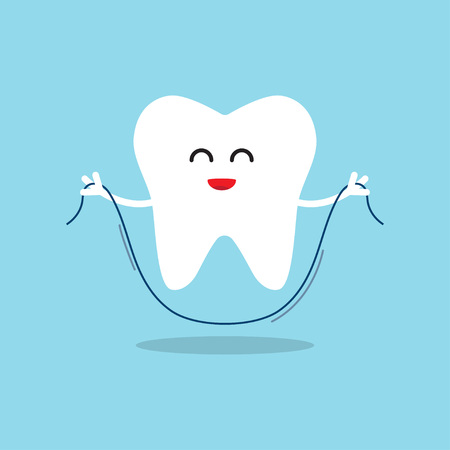 Happy tooth with dental floss. Oral hygiene, brushing teeth flossing. Vector illustration Çizim