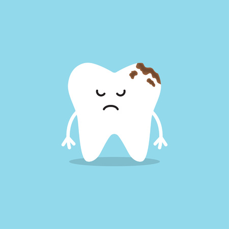 Cute tooth characters. Tooth with caries. Big hole in the teeth. Vector illustration
