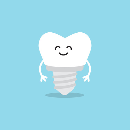 Funny cartoon tooth with implant on the blue background. Vector illustration