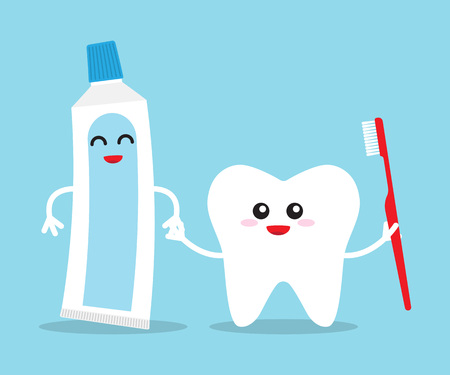 Tooth holding toothpaste and toothbrush. Teeth care icon. Oral dental hygiene. Vector illustration