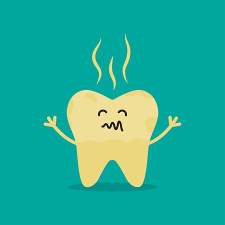 Cartoon rotten tooth character. Dental caries, toothache, bad teeth, limestone, swollen gums Vector Illustration Çizim