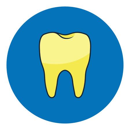 Unhealthy Tooth. Yellow rotten teeth. Dental caries, toothache, bad teeth, limestone, swollen gums Vector Illustration Çizim