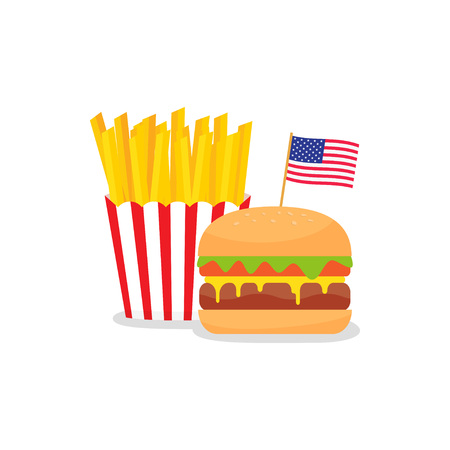 Fast food banner with American flag and hamburger with french fries. USA Independence Day. Vector illustration Illustration