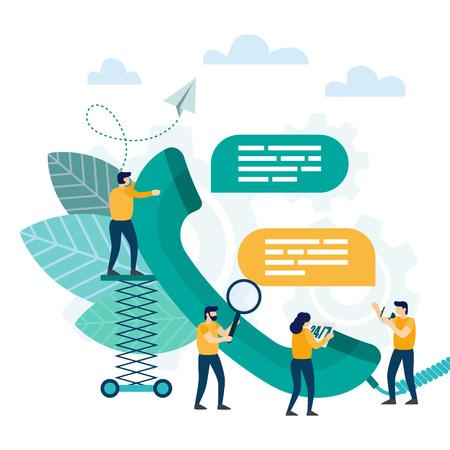 Call center, obsługa klienta. Operator infolinii doradza klientowi. Wsparcie techniczne online. Ilustracja wektorowa Ilustracje wektorowe