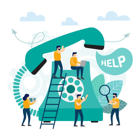 Call center, customer support. Hotline operator advises client. Online technical support. Vector illustration Illustration