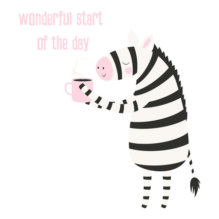 hand drawn vector illustration of cute funny zebra with cup, lettering quote, isolated objects, scandinavian style flat design, concept for children print