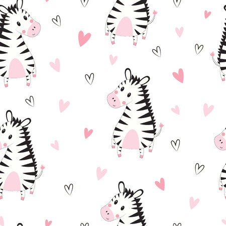 zebra baby seamless pattern, scandinavian cute print, cool african animal illustration for nursery t-shirt, kids apparel, invitation cover, simple child background design, baby shower card