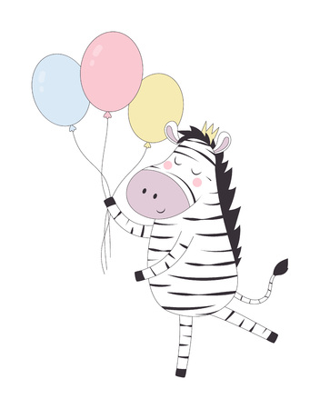 hand drawn vector illustration of cute funny zebra in crown with balloons, animal isolated, scandinavian style flat design, concept for children print, holiday card