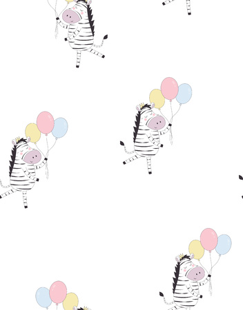 hand drawn vector pattern of cute funny zebra in crown with balloons, animal isolated, scandinavian style flat design, concept for children print, holiday wallpaper
