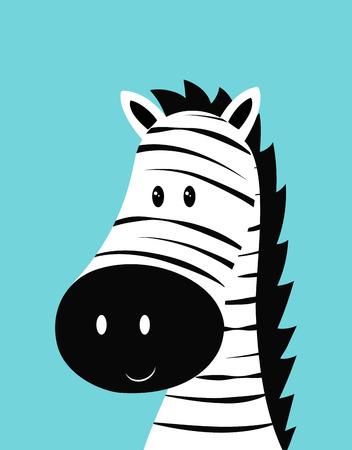 hand drawn vector illustration of cute funny zebra, animal isolated, scandinavian style flat design, concept for children print, head of cute zebra