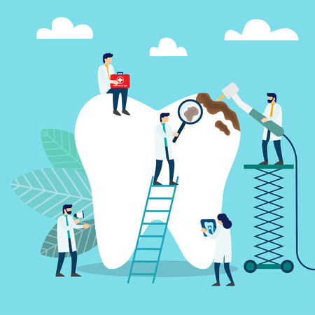 Doctors who treat giant teeth like cures. Dental clinic concept. Vector illustration 向量圖像